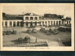CPA - MORLAIX - La Gare, Animé - Automobiles, Autocars - Morlaix