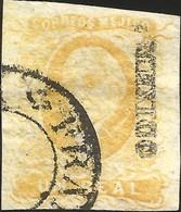 J) 1856 MEXICO, HIDALGO, UN REAL LEMON YELLOW, MEXICO DISTRICT, CIRCULAR CANCELLATION, MN - Mexico