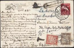 YT 464 20F Rose Carmin Scout  CAD Godollo 15 Aug 1933 IV Jamboree + Trouvé à La Boîte Taxe France YT 29 + 33 - Brieven En Documenten