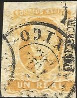 J) 1856 MEXICO, HIDALGO, UN REAL ORANGE, MULTIPLE CANCELLATION CIRCULAR, MEXICO DISTRICT, MN - Mexico
