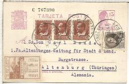 SANTA CRUZ TENERIFE 1932 ENTERO POSTAL A ALEMANIA FRANQUEO ADICIONAL Y VIÑETA TURISTICA CLIMA TENERIFE - 1931-Heute: 2. Rep. - ... Juan Carlos I