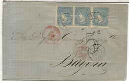 ENVUELTA DE HARO LA RIOJA A BAYONA 1865 TRIPLE FRANQUEO FECHADOR HARO SIN AÑO MARCAS Y PORTEOS - Cartas