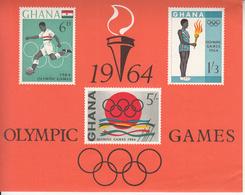 1964 Ghana Tokyo Olympics Football Souvenir Sheet  Complete Set Of 1 MNH - Ghana (1957-...)