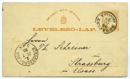 HUNGARY : MAGY KIR POSTAL / LEVELEZO-LAP : BUDAPEST - STRASSBURG, 1880 - Postal Stationery