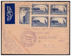 N° 457 En Bloc De 4 Sur Lettre De TOULOUSE Pour STANFORD ( U S A ° Du 12.9.40. - France