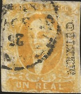 J) 1856 MEXICO, HIDALGO, UN REAL YELLOW ORANGE, CIRCULAR CANCELLATION, MEXICO DISTRICT, WIRE WOVE, MN - Mexico