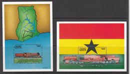 1992 Ghana Trains Railways Map Flags   Complete Set Of 2 Souvenir Sheets MNH - Ghana (1957-...)