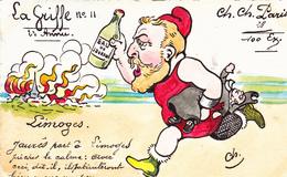 CPA Peinte à La Main RARE LIMOGES Caricature Satirique JAURES  Anti-Clérical La Griffe N° 11 Illustrateur  (2 Scans) - Autres Illustrateurs