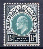 NATAL - (Colonie Britannique) - 1902-03 - N° 59 - 1 1/2 P. Noir Et Vert - (Edouard VII) - Natal (1857-1909)