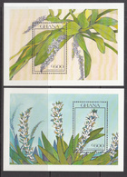 1990 Ghana Flowers Orchids   Complete Set Of 2 Souvenir Sheets MNH - Ghana (1957-...)