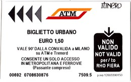 Italy , Milano   , Metro  Ticket  , Biglietto Urbano , Used - Metro