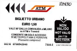 Italy , Milano   , Metro  Ticket  , Biglietto Urbano , Used - Europe