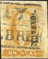 J) 1856 MEXICO, HIDALGO, UN REAL YELLOW ORANGE, OAXACA DISTRICT, BLACK BOX CANCELLATION, MN - Mexico