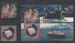 NORWAY, 2016, MNH,NORDEN, CUISINE,SHIPS, FJORDS, MOUNTAINS, 2v +S/SHEET - Food