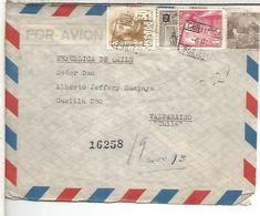 PONTEVEDRA  CC CERTIFICADA A CHILE SELLO BASICA FRANCO Y FRAGMENTO MUTUALIDAD - 1931-50 Cartas