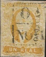 J) 1856 MEXICO, HIDALGO, UN REAL YELLOW ORANGE, DISTRICT OAXACA, BLACK BOX CANCELLATION, MN - Mexico