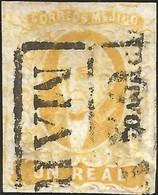 J) 1856 MEXICO, HIDALGO, UN REAL YELLOW, DISTRICT OAXACA, BLACK BOX CANCELLATION, MN - Mexico