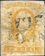 J) 1856 MEXICO, HIDALGO, UN REAL YELLOW, DISTRICT PUEBLA, BLACK CANCELLATION, MN - Mexico