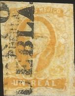 J) 1856 MEXICO, HIDALGO, UN REAL YELLOW ORANGE, PUEBLA DISTRICT, BLACK CANCELLATION, MN - Mexico