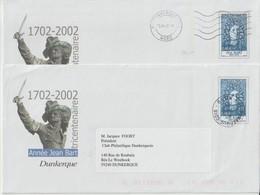 France 2 PAP Dunkerque Jean Bart 2002 Avec Oblitération Dunkerque CDIS (1 Mécanique Et 1 Manuelle) - Prêts-à-poster:  Autres (1995-...)
