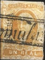 J) 1856 MEXICO, HIDALGO, UN REAL YELLOW ORANGE, PUEBLA DISTRICT, BLACK BOX CANCELLATION CHACHICOMULA DISTRICT, MN - Mexico