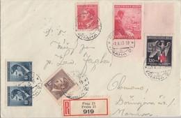 Böhmen & Mähren R-Brief Mif Minr.2x 91,95,96,127 Leerfeld, 132 Prag 1.10.43 - Böhmen Und Mähren