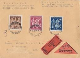 Böhmen & Mähren Wert-NN-Brief Mif Minr.133,134,135 Pardubitz 16.3.44 - Böhmen Und Mähren
