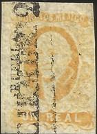 J) 1856 MEXICO, HIDALGO, UN REAL YELLOW ORANGE, PLATE I, PUENA DISTRICT, BLACK CANCELLATION, MN - Mexico