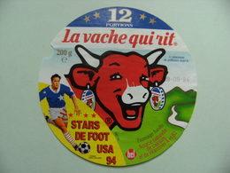 """Etiquette Fromage Fondu - Vache Qui Rit - 12 Portions Bel Pub """"Stars De Foot USA 94""""  A Voir ! - Fromage"""