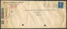 1918 USA Pacific Commercial Company PERFIN Censor Cover Wall Street, New York - Horsens Denmark - United States