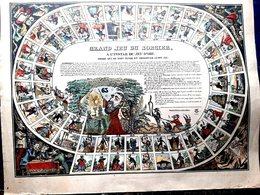 JEU DE L'OIE DU SORCIER  GIOCO DELL OCA RARE COLORE ET  DORE  THEME DIABLES DEMONS ORACLES ASTROLOGUES NANCY VERS 1860 - Juegos De Sociedad