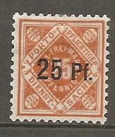 WURT - SERV Yv. N° 61   MI. N° 122  Wz1  *  25p S 25p  Cote  4 Euro   BE   2 Scans - Wuerttemberg