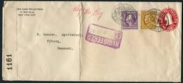 1916 USA The Seamen's Bank For Savings Registered Censor Cover. New York, Wall Street Station - Chemist Nyborg Denmark - United States