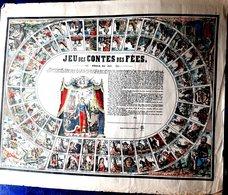 JEU DE L'OIE CONTES DE FEE GIOCO DELL OCA RARE COLORE ET  DORE OGRE SORCIERE FEES BARBE BLEUE BETE FURIE NANCY VERS 1860 - Juegos De Sociedad