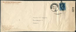 1917 USA Vacuum Oil Company X 2 Censor Covers Rochester / Boston - Copenhagen Denmark - United States