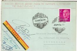 PALMA MALLORCA CC PRIMER VUELO SABENA A BRUSELAS 1956 MAT HEXAGONAL FIRMA TRIPULACION - Poste Aérienne