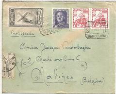 BARCELONA CC CERTIFICADA SELLOS ALMIRANTER BONIFAZ Y MUTUALIDAD MOLINO DE VIENTO WINDMILL - 1931-50 Cartas