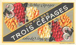 Buvard: Vin Fin Des Trois Cépages - Buvards, Protège-cahiers Illustrés