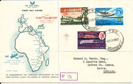 Rhodesia & Nyasaland FDC 6-2-1962 Complete Set Of 3 Commemorating The 30th Anniversary Of The First Official Flight To L - Rhodesien & Nyasaland (1954-1963)