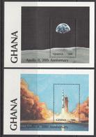 1989 Ghana Space Apollo 11 Complete Set Of 2 Souvenir Sheets  MNH - Ghana (1957-...)