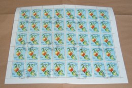 Laos 1989 / Sheet Of Stamps 40 X MiNr. 1173 Used / Fruits - Punica Granatum - Laos
