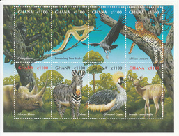 2000 Ghana Wildlife Rhino Leopard Chimp Snake Miniature Sheet Of 8 MNH - Ghana (1957-...)