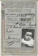 DOCUMENT CARTE RÉDUCTION CHEMINS DE FER LIGNE PO PARIS - ORLÉANS POUR ENFANT - 7 ANS - Billetes De Transporte