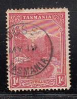 Tasmania 1905-1908 Used Sc 103 1p Mt Wellington Perfin Small T CDS Ouse MY 19 03? - Oblitérés