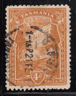 Tasmania 1905-1908 Used Sc 106 4p Russell Falls Variety Lower Right Corner Break Wmk Inverted - Oblitérés