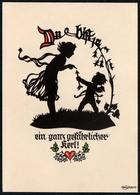 C2809 - Glückwunschkarte - Georg Plischke Scherenschnitt - Engel Angel - Scherenschnitt - Silhouette