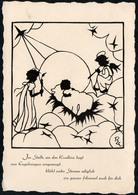 8675 - R. Einicke Zschoche Glückwunschkarte - Scherenschnitt - Engel Angel Weihnachtskrippe Krippe - Scherenschnitt - Silhouette