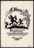 B7071 - Plischke Glückwunschkarte - Scherenschnitt - Ostern - Engel Angel - Scherenschnitt - Silhouette