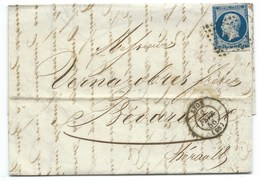 N° 14 BLEU NAPOLEON SUR LETTRE / LYON POUR BEDARIEUX / 2 FEV 1856 - Storia Postale