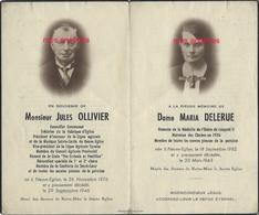 Faire-part De Décès 1946/1943- Neuve-Eglise (59) Jules OLLIVIER Conseiller Municipal, Maria DELERUE, Marraine Des Cloche - Décès